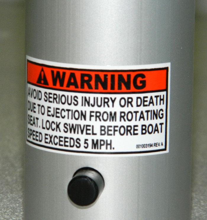 Boat Pedestal Seat warning. 2014 Tulsa Boat Show.