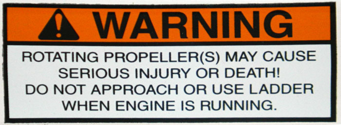 Propeller and ladder warning. 2014 Tulsa Boat Show.
