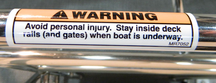 Deck Rails warning. 2014 Tulsa Boat Show.