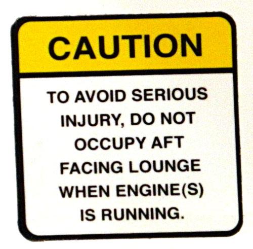Aft facing seats warning. 2014 Tulsa Boat Show.
