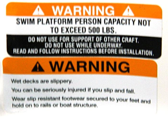 Swim Platform warning. 2014 Tulsa Boat Show.