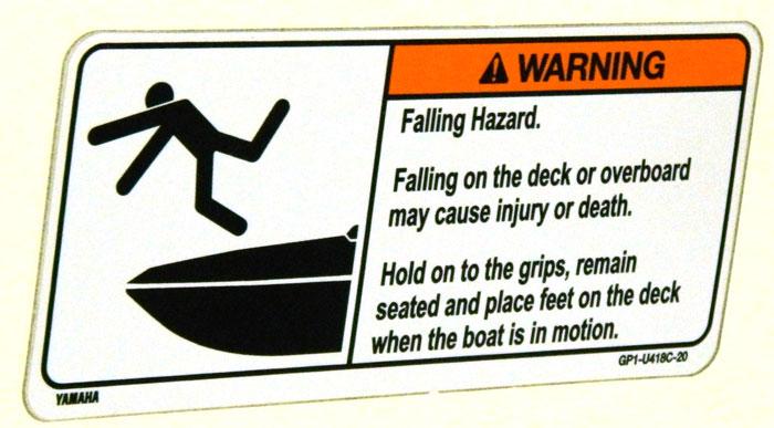 Yamaha falling warning. 2014 Tulsa Boat Show.