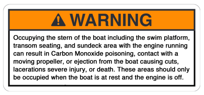 Altered version of the Nautique warning, this one is rectangular.