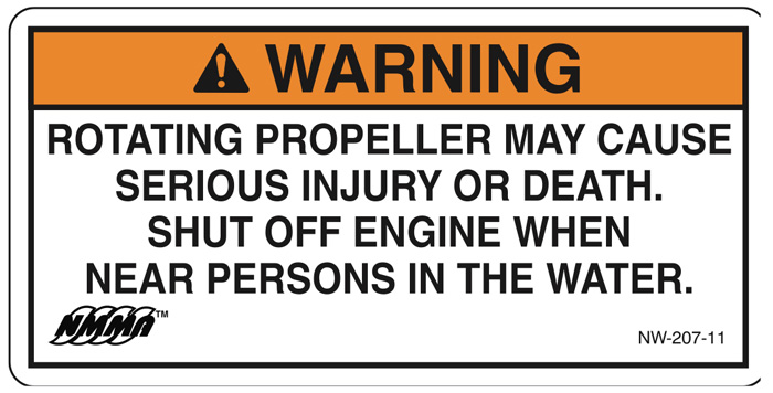 NMMA helm propeller warning