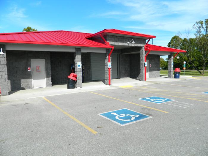Restroom building at Wolf Creek boat ramp, Grand Lake, Grove Oklahoma