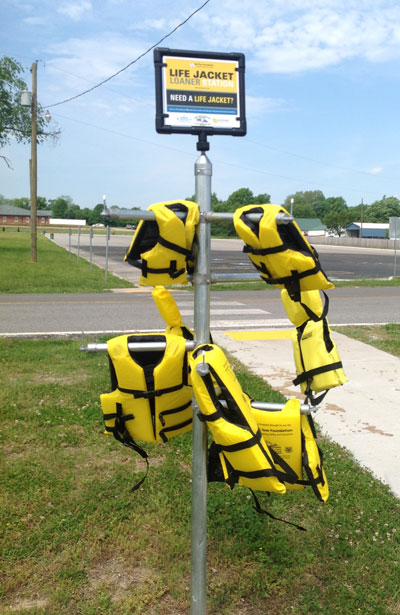 Life Jacket loaner stand at Wolf Creek boat ramp, Grand Lake, Grove Oklahoma
