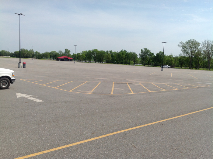 Large parking lot at Wolf Creek Park, Grand Lake, Grove Oklahoma