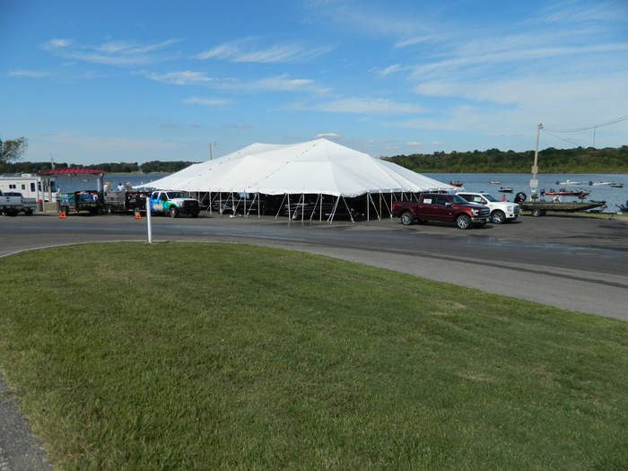 Large tent used as headquarters for Nichols Marine Tournament Series Championship, Grand Lake, September 2015.