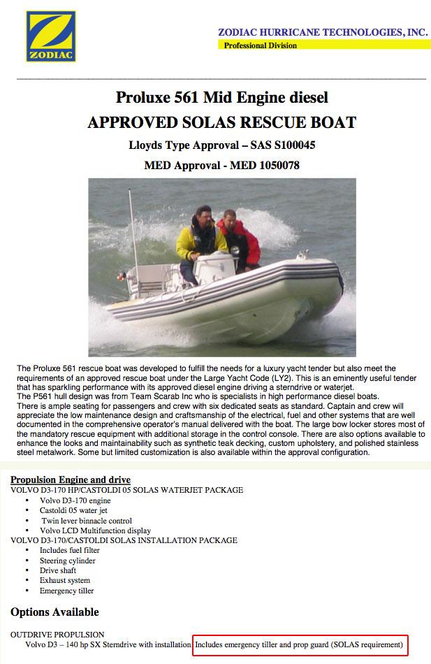 Zodiac P561 SOLAS rescue boat