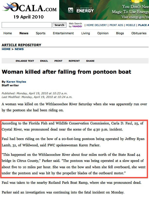 Woman Killed After Falling From Pontoon Boat