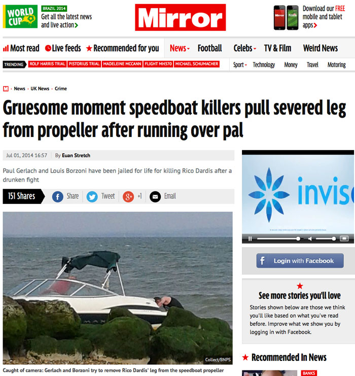 Mirror coverage of the Murder