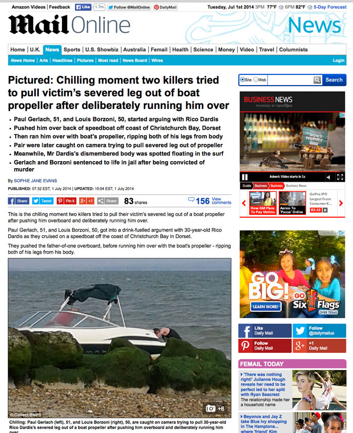 Mail Online / Daily Mail coverage of the murder