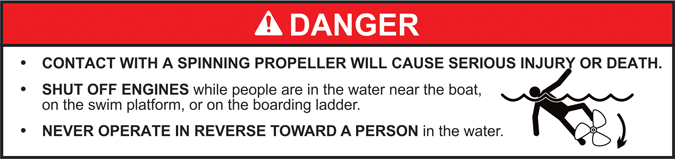 ABYC helm propeller warning for gasoline outboard motor powered boats