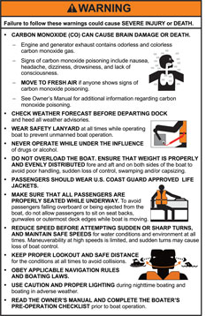 ABYC helm warning for outboard boat