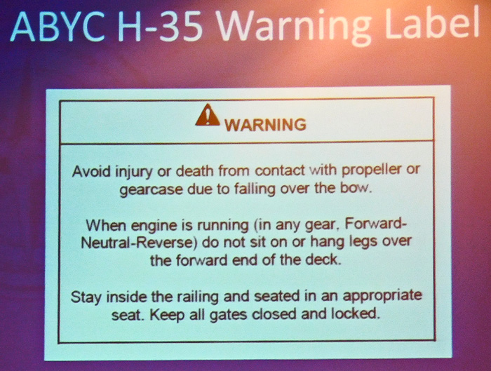 Pontoon boat propeller warning by ABYC NBSAC97