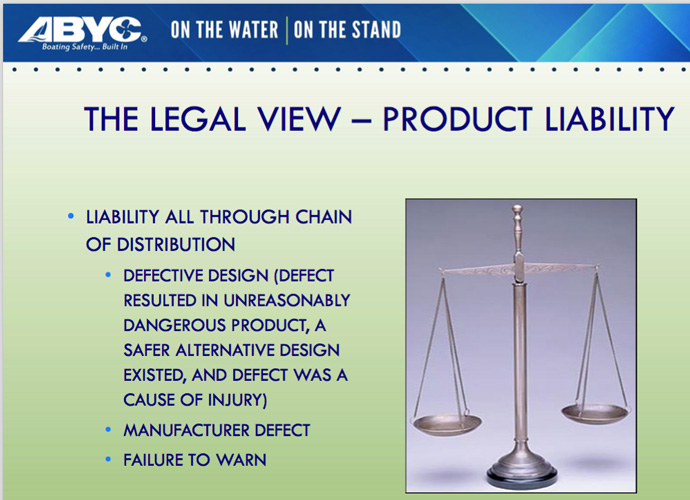 Product Liability and Propeller Guards part 1. ABYC Marine Law Symposium 2018.