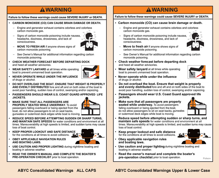 ABYC Consolidated Helm Warning ALL CAPS vs. upper and lower case comparison