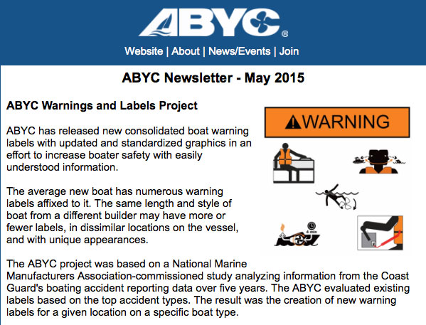 ABYC May 2015 newsletter announces consolidated warnings