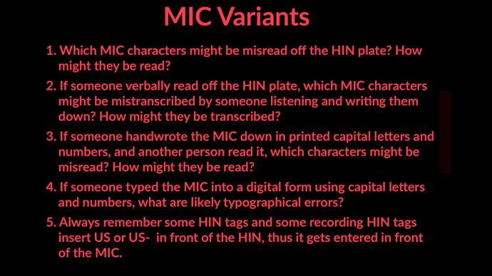 MIC Variants in BARD