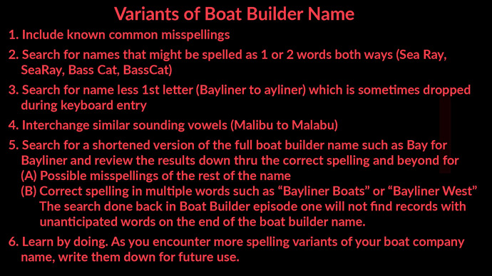 Variants of Boat Builder Name in BARD