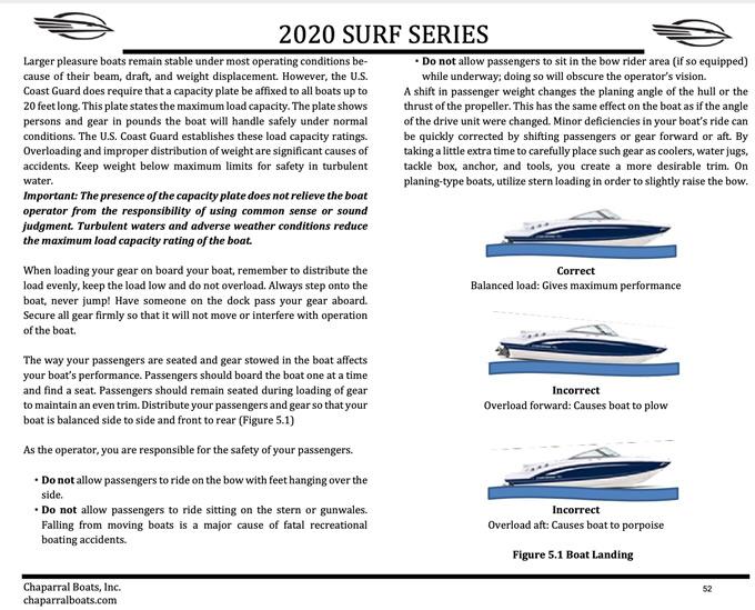 Chaparral boat 2020 Surf Series operators manual pg.52