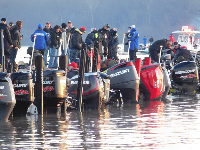2016 Bassmaster Classic Day 2. Outboards at the dock before blastoff.