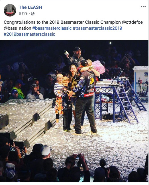 Ott Defoe & family clip from The Leash's Facebook feed as he won the 2019 Bassmaster Classic.
