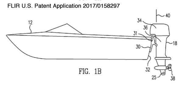 FLIR outboard motor application figure in submerged object avoidance patent application