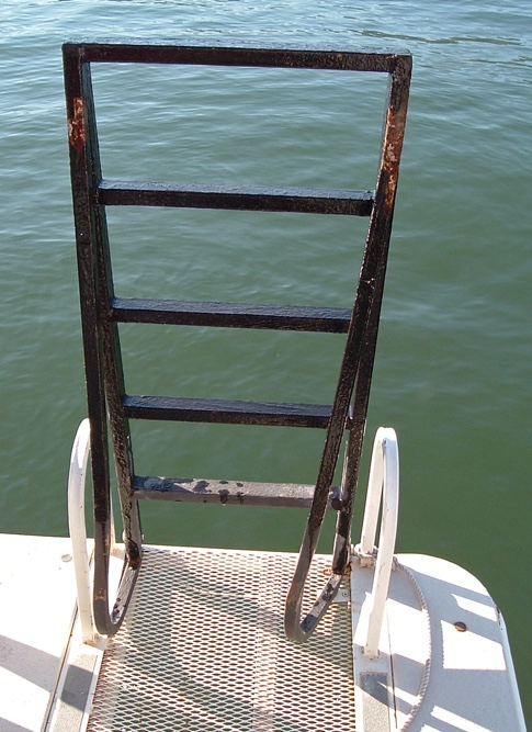 Bent houseboat boarding ladder with MariTech Ladder Interlock Switch