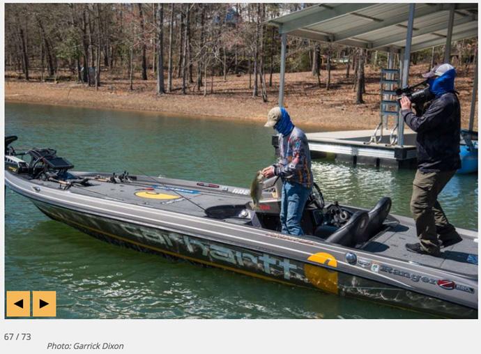 Jordan Lee dock fishing on day 3 of 2018 Bassmaster Classic. image by Bassmaster /  Garrick Dixon