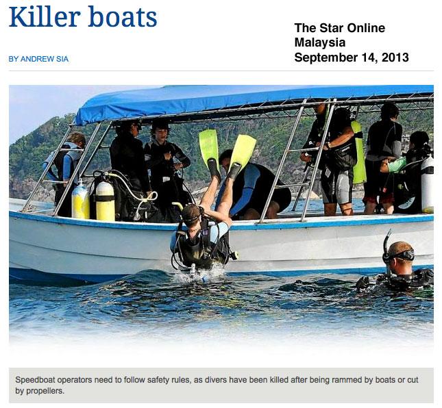 Killer Boats headline in The Star Online