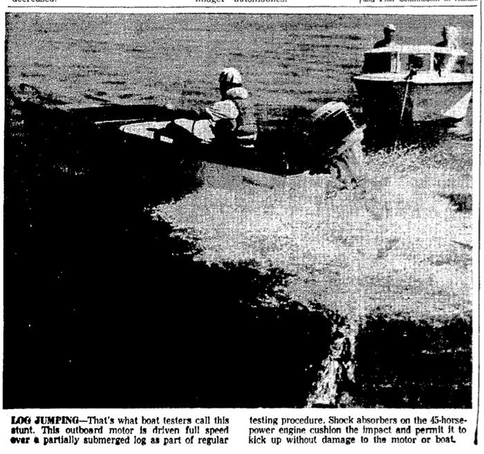 Log strike testing news clip. Corpus Christie Caller-Times. 30 April 1960. Page 6D.