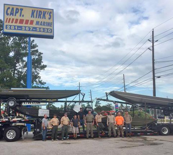 First trailer of Lowe Boats arrive near Houston
