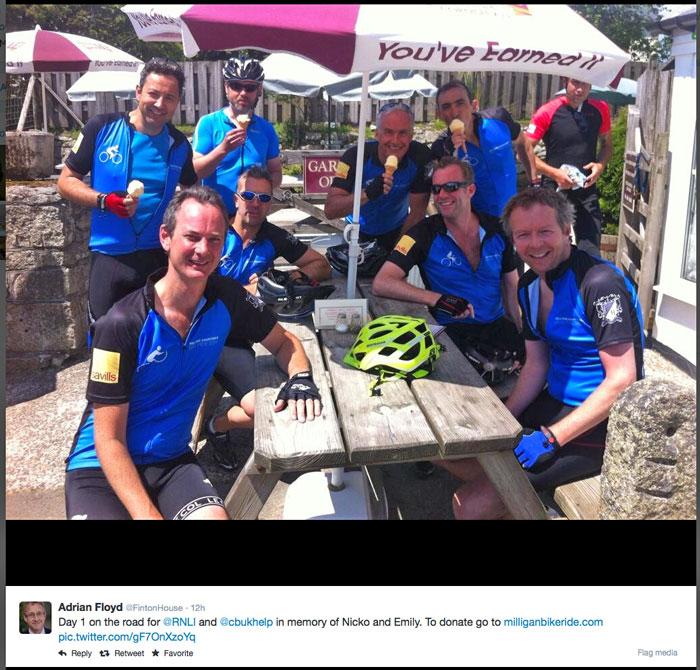 A few cyclists during a break