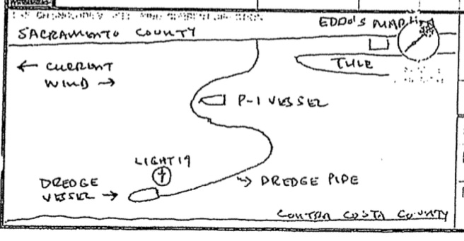 Accident Report sketch of dredge and pipe