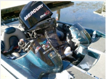 Outboard broke off and flipped into Michael Moreno's boat. Image via Bass Angler magazine.