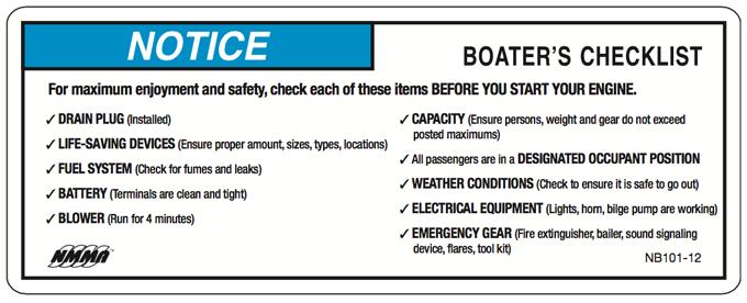 NMMA 2015 Boater's Checklist