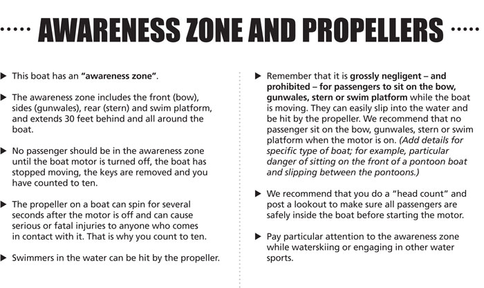 Rental Boat Safety Presentation Presenter Text for Propeller Safety Page by USCG