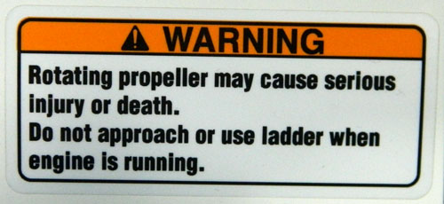 Propeller Warning Decal with rounded edges