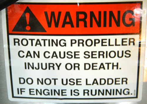 Propeller Warning Decal on pontoon boat - square
