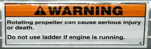 Propeller Warning Decal on pontoon boat