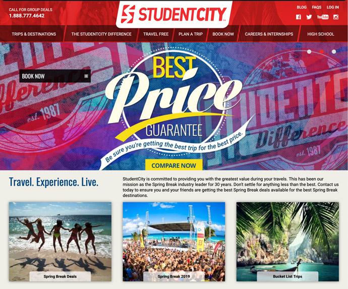 StudentCity website in 2018
