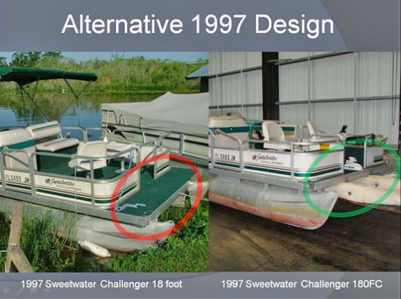 Sweetwater Pontoon Boats in 1997: Bow Riding design alternatives