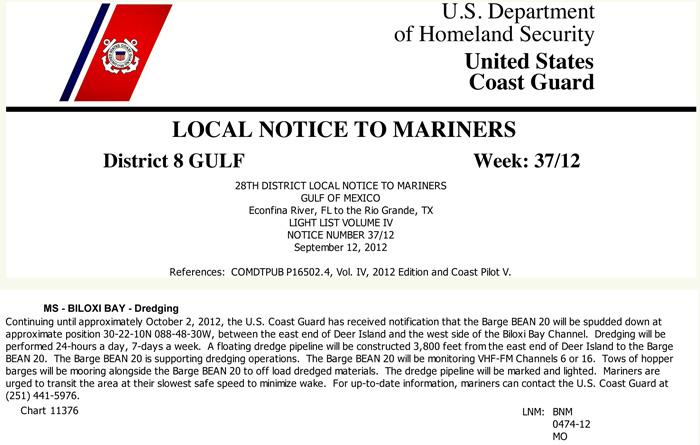 Deer Island Dredging Notice