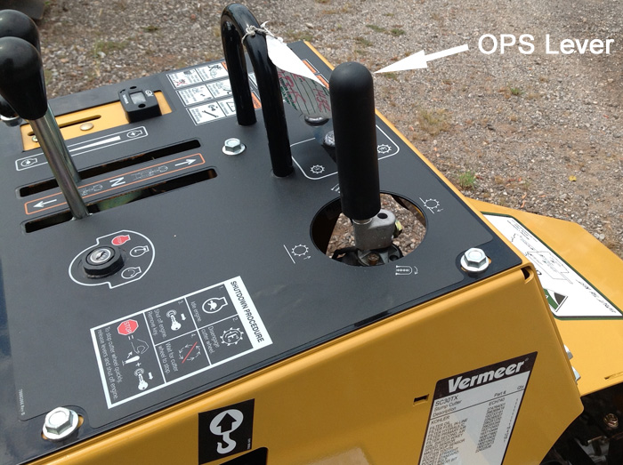 Vermeer Operator Presence System handle on a stump cutter