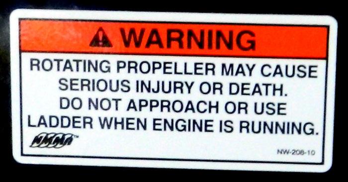 NMMA propeller warning at 2013 Tulsa Boat Show.