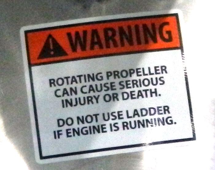 Propeller warning on pontoon boat at 2013 Tulsa Boat Show