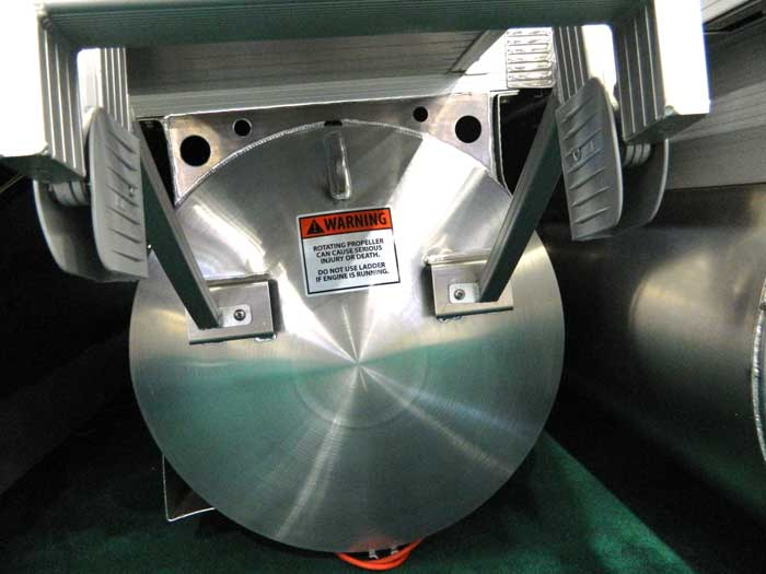 Placement of propeller warning on pontoon boat at 2013 Tulsa Boat Show