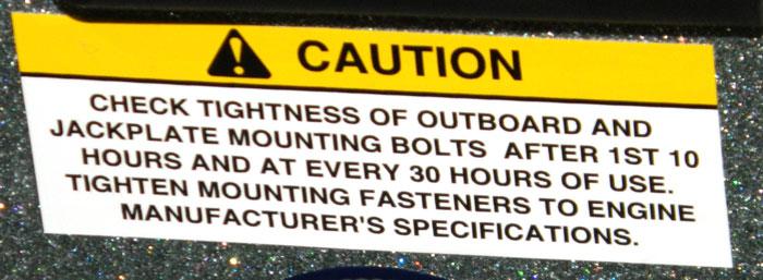 Outboard & Jackplate bolt warning. 2014 Tulsa Boat Show.