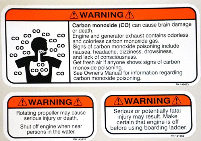Cluster of warnings. 2014 Tulsa Boat Show. Carbon monoxide & 2 propeller warnings.
